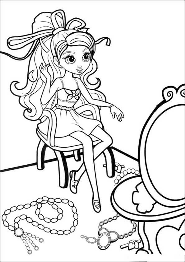 Dibujos para colorear de Barbie. En el tocador