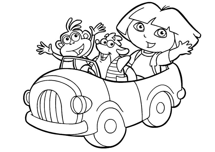 Dora mit Freunden mit dem Auto