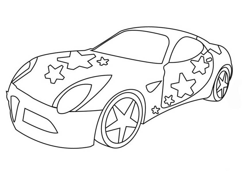 ausmalen auto mit stars