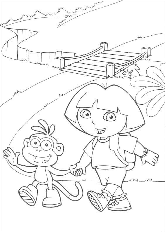 Dora und Boots auf der Brücke
