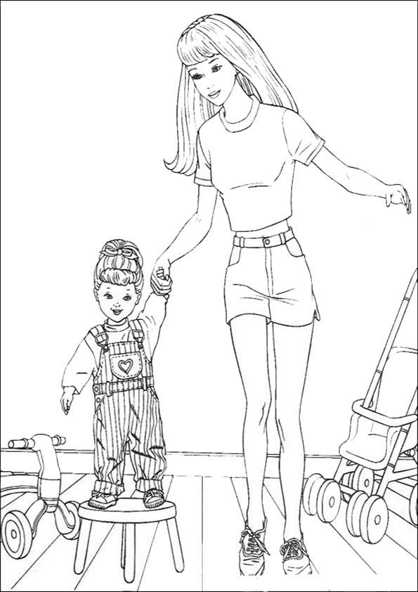 dibujos para colorear de Barbie. Con su hermana