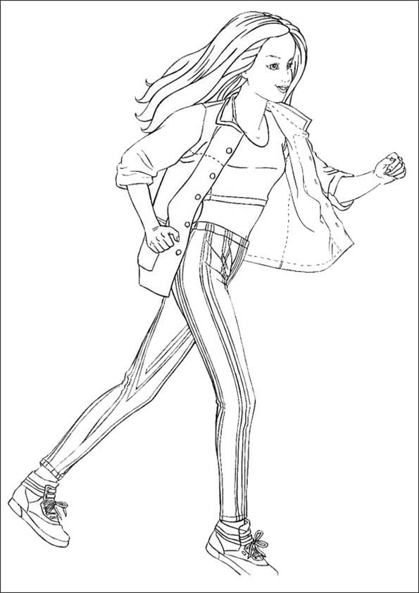 dibujos para colorear de Barbie. Corriendo