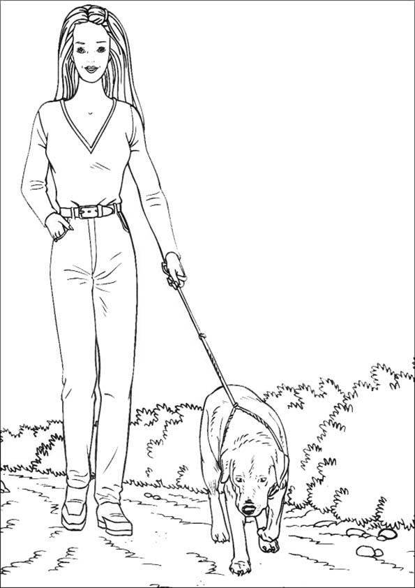 Dibujos para colorear de Barbie. Con su perro