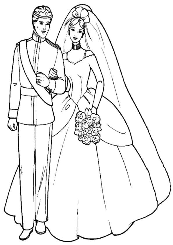 dibujos para colorear de barbie y kent casandose