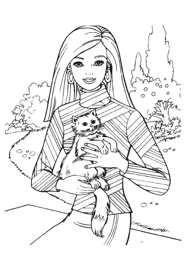 Dibujos para colorear de Barbie. Con su gato en brazos