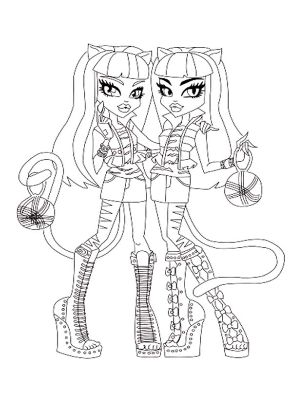 siamesas de monster high para colorear