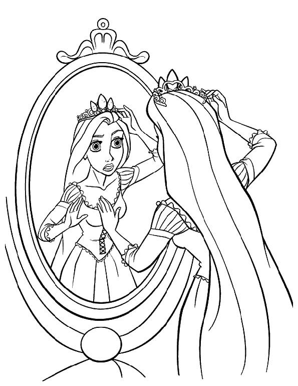 malvorlagen Prinzessin im Spiegel