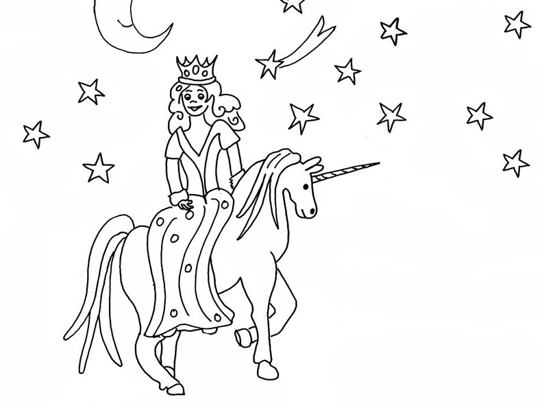 Malvorlagen Prinzessin und Einhorn
