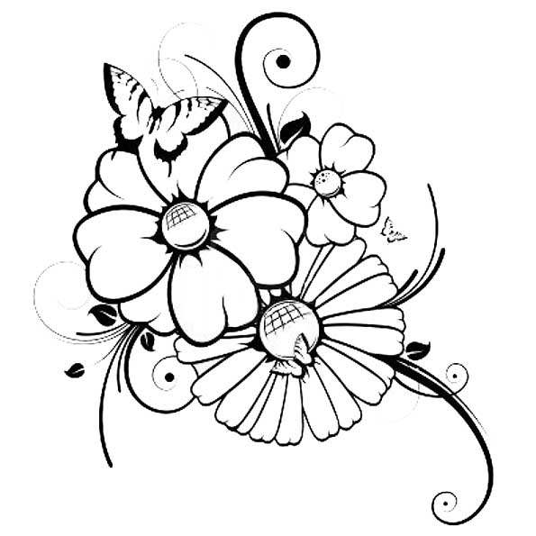 Blumen und Schmetterling