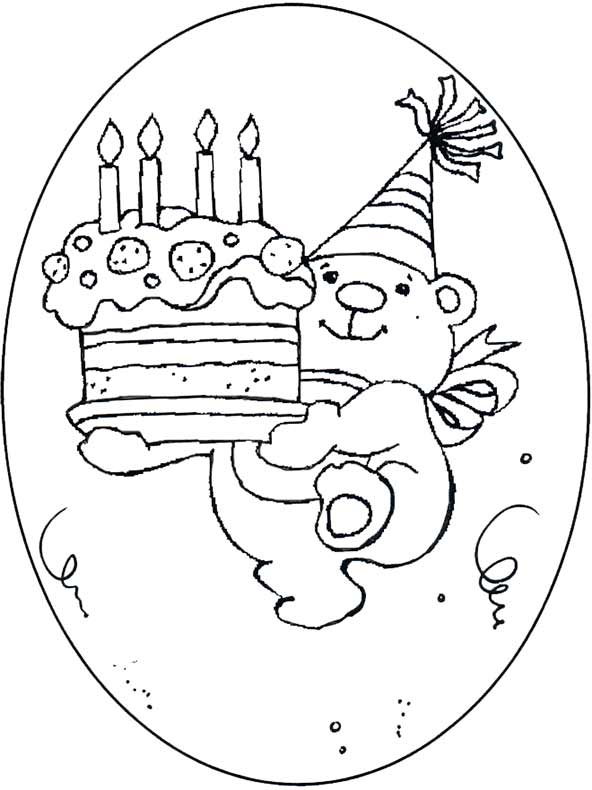 Teddy mit Geburtstagstorte