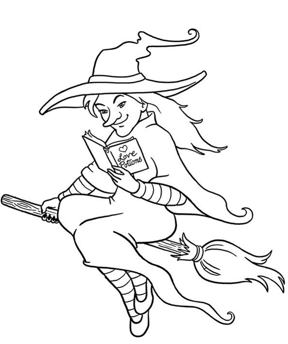 Hexe auf dem Besen und Zaubertränke Buch lesen