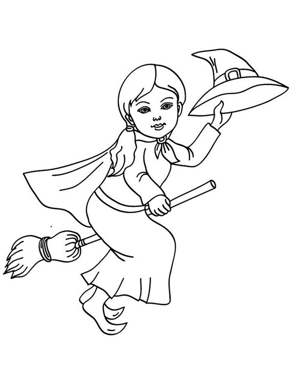Hexe auf dem Besen und grüßt