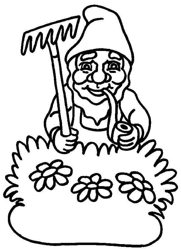 Elf mit Harke und Pfeife