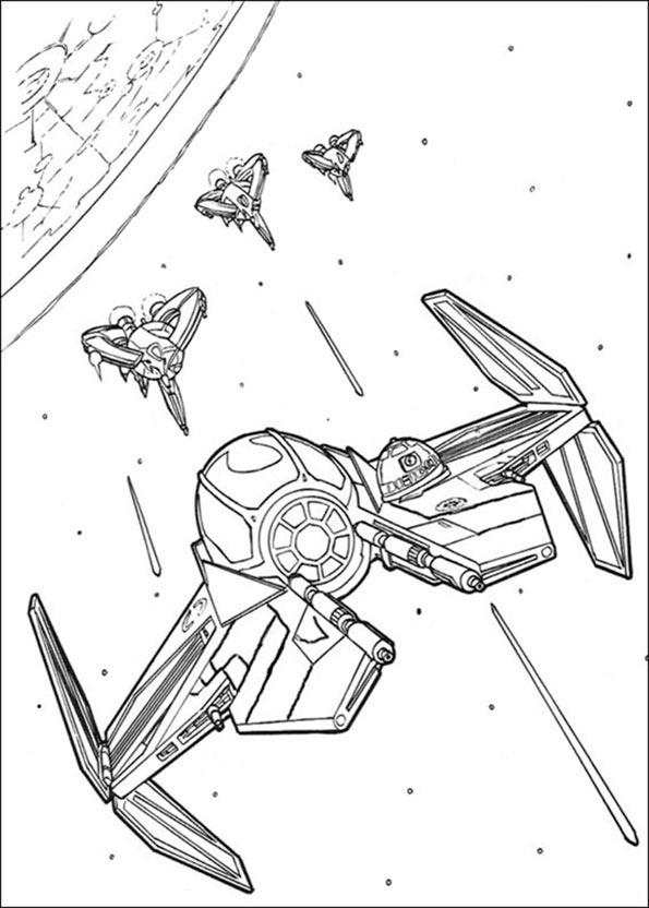 Vier Raumschiff von Star Wars ausmalbilder