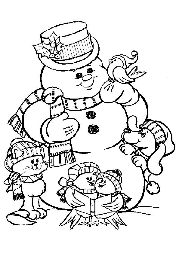 Schneemann und Tiere