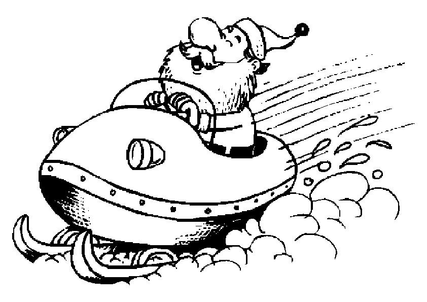 Weihnachtsmann auf einem Schneemobil