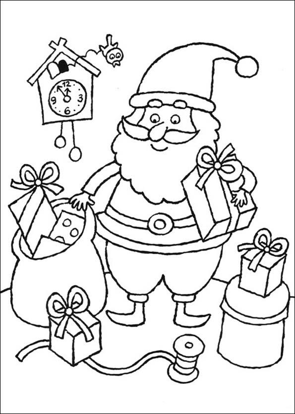 weihnachtsmann ist umgeben von Geschenken