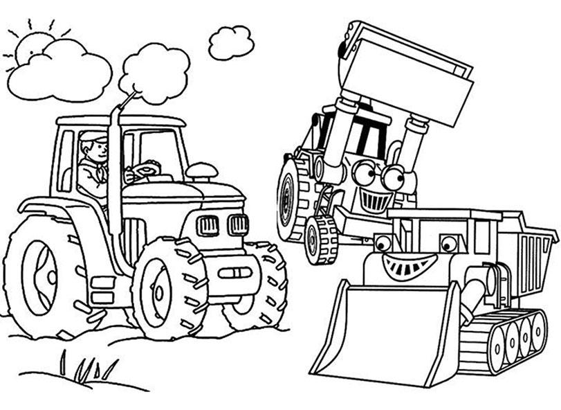 Ausmalbilder Bagger und Traktor