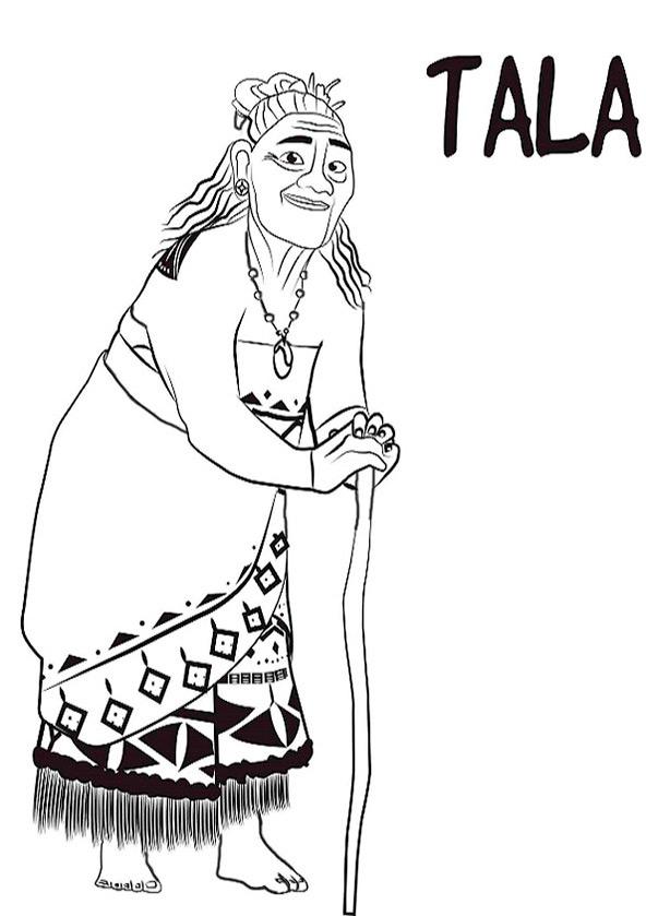 Ausmalbilder Vaiana. Großmutter Tala