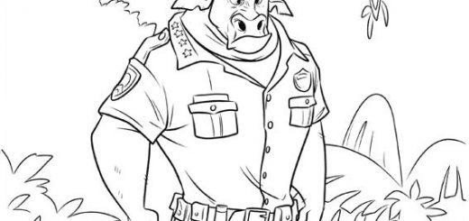 Ausmalbilder Zoomania Chief Bogo. 7