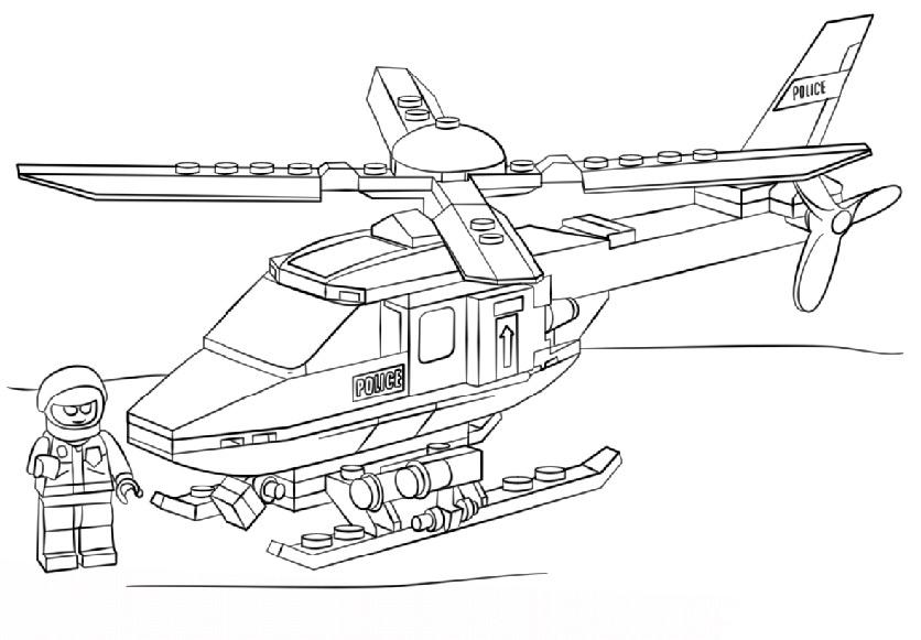 Ausmalbilder Polizei-Hubschrauber 2