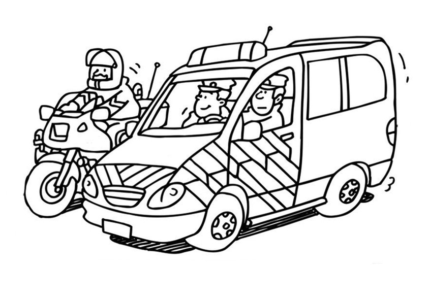 Ausmalbilder Polizeiauto und Motorrad