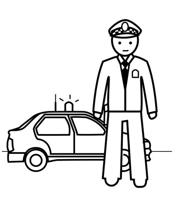 Ausmalbilder Polizei mit Polizeiwagen 6