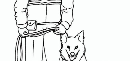 Ausmalbilder Polizist mit Polizeihund