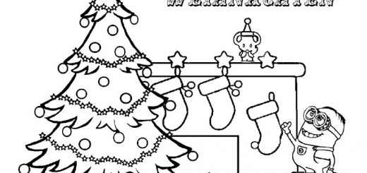 Ausmalbilder Minions Weihnachten 47